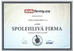 Požární služby Kalen s.r.o. získala ocenění Spolehlivá firma.